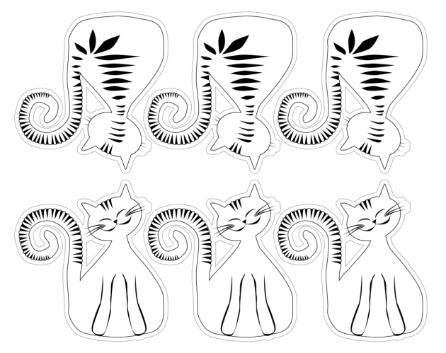 free printable coloring cat's mobile 1
