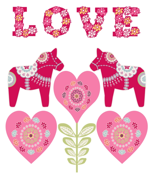 illustration dala horse valentine day