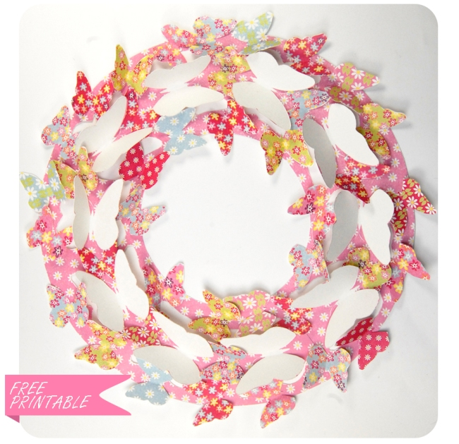 free printable butterfly wreath 1