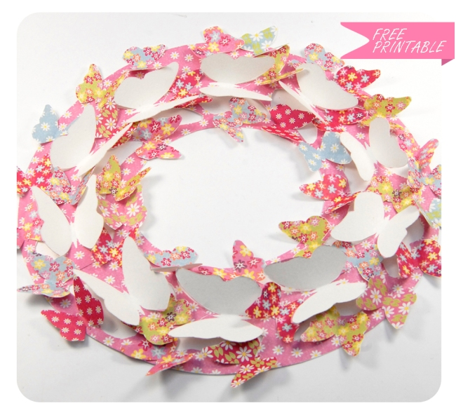 free printable butterfly wreath 2