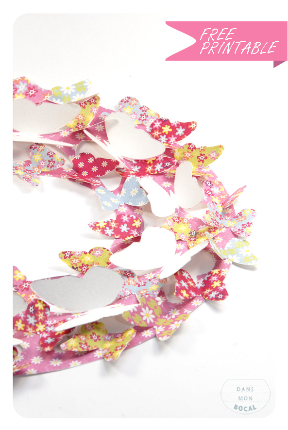 free printable butterfly wreath 3