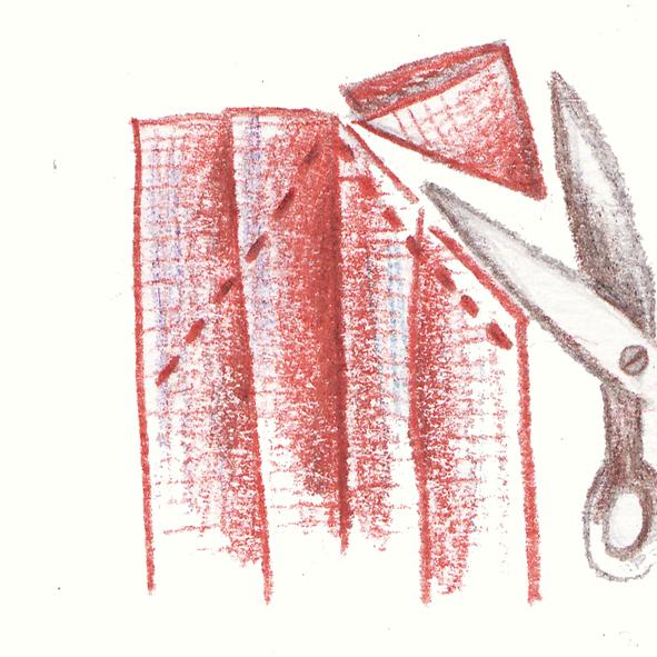 12 coupez l'exédent de tissu
