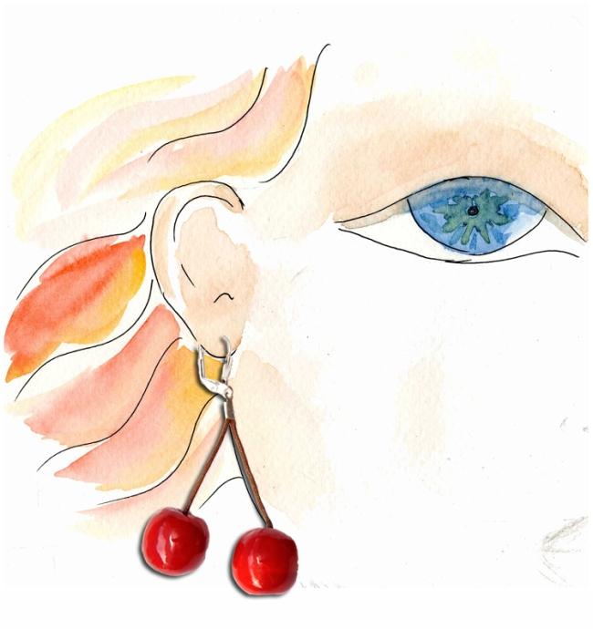 boucle d'oreille cerises