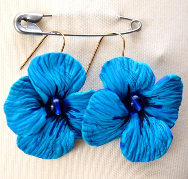 boucle d'oreille fleur turquoise