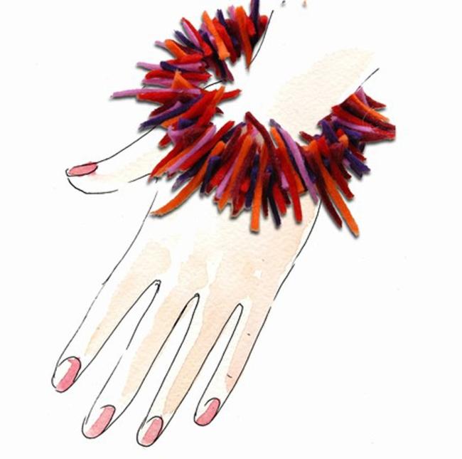 bracelet en chutes de feutrine