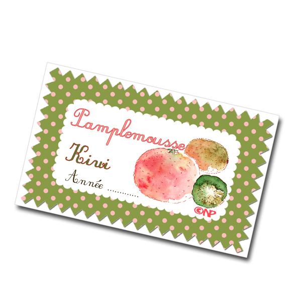 étiquette confiture de pamplemousse-kiwi à imprimer gratuitement