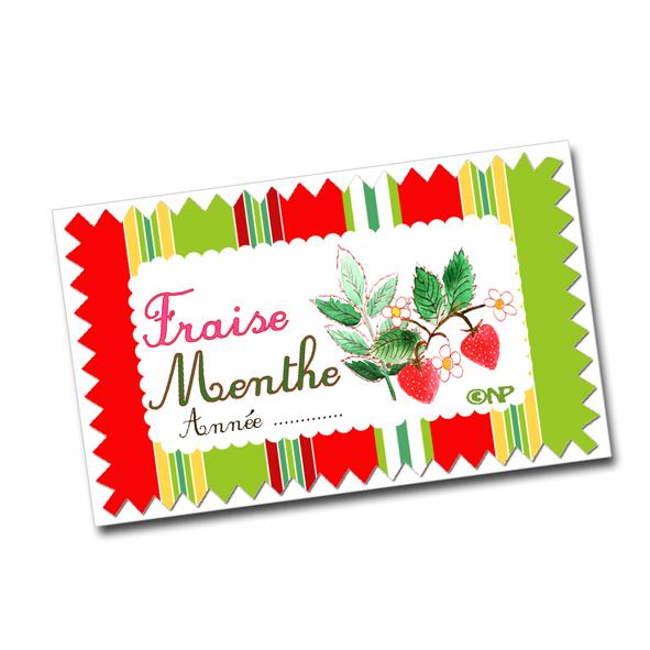 étiquette confiture fraise menthe à imprimer gratuitement