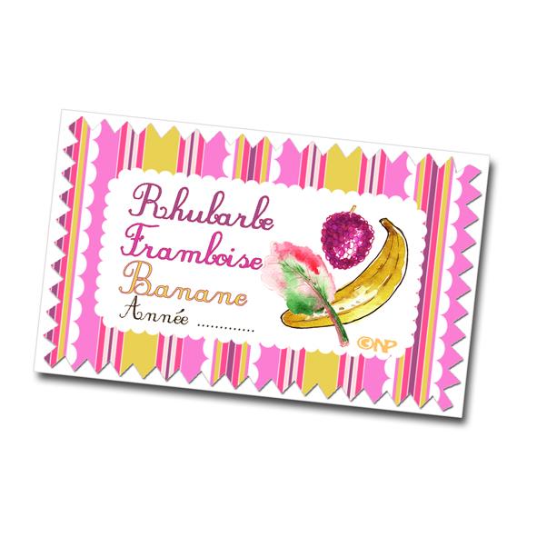 étiquette confiture rhubarbe banane framboise à imprimer gratuitement