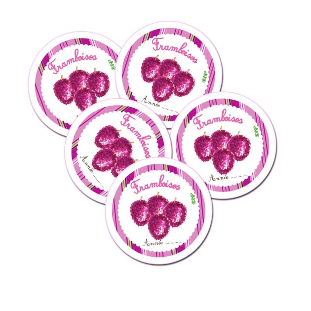 étiquette ronde confiture framboises à imprimer gratuitemnet