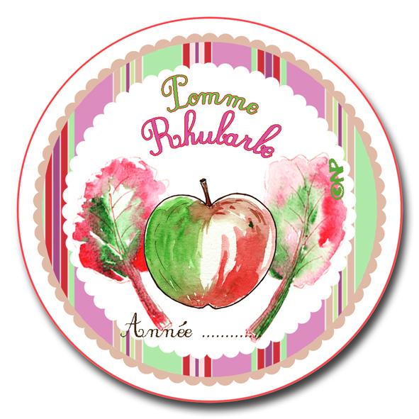 étiquette ronde confiture pomme rhubarbe à imprimer gratuitemnet