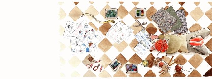 étude à l'aquarelle pour une banière blog loisir créatif