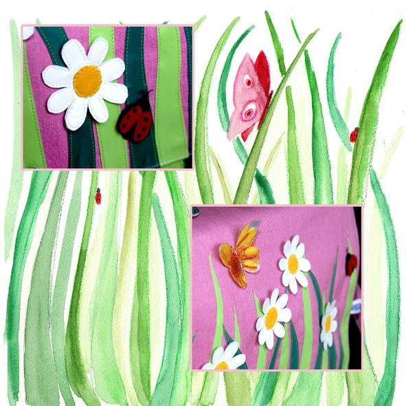 cartable fleuri détail