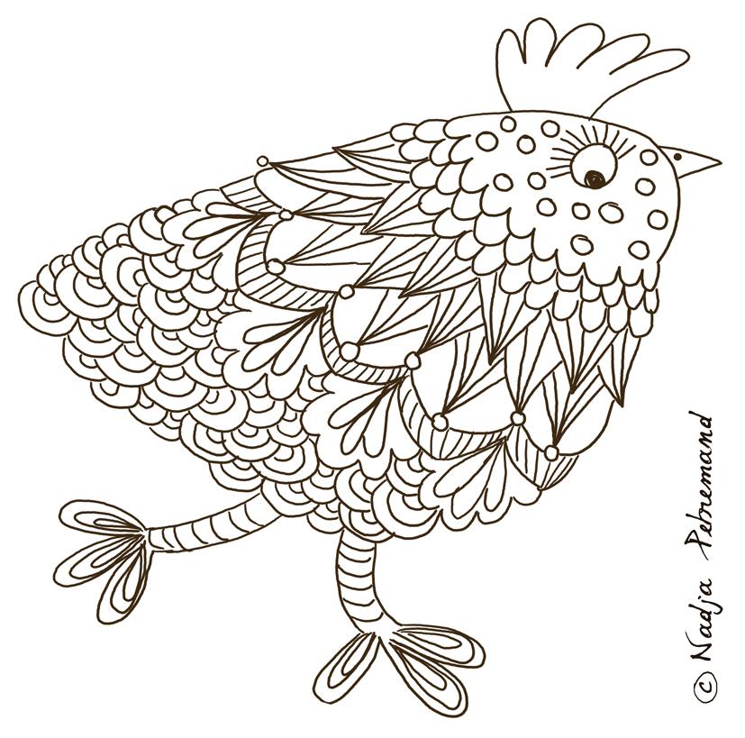 image coloriage poule rousse