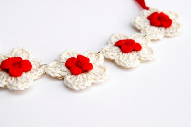 collier crochet fleur fimo 2