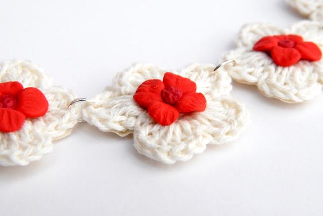 collier crochet fleur fimo 4