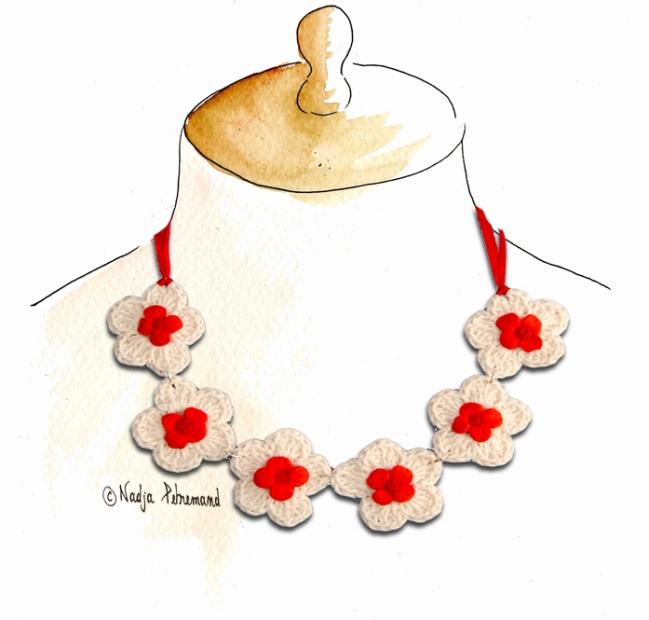 collier crochet fleur fimo