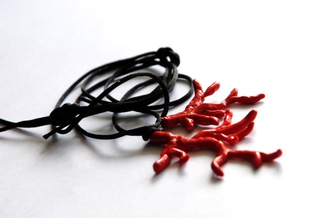 collier pendentif corail fimo 1