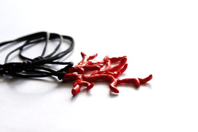 collier pendentif corail fimo 2