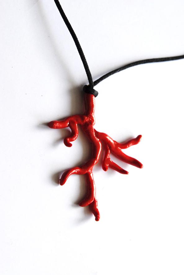 collier pendentif corail fimo 5
