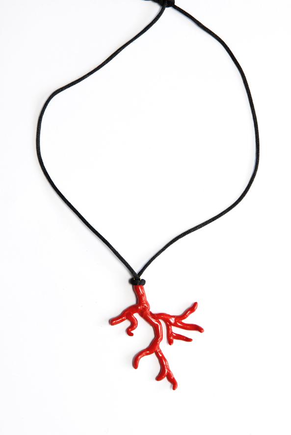 collier pendentif corail fimo 7