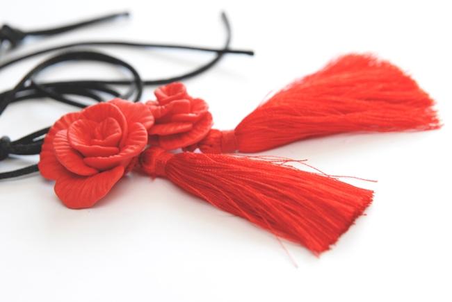 collier pendentif rose fimo