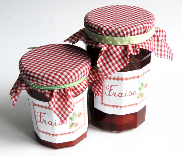 Etiquettes pour confiture de fraise rhubarbe et fraise - Confiture de fraises maison ...