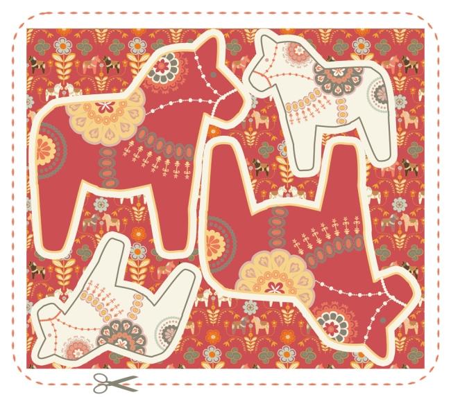 coussin dala horse rouge