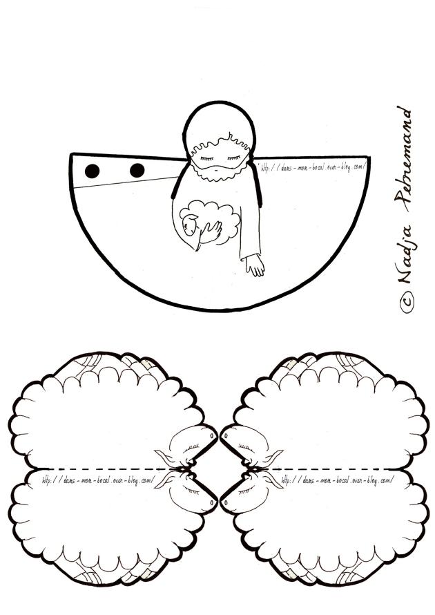 creche à colorier joseph mouton