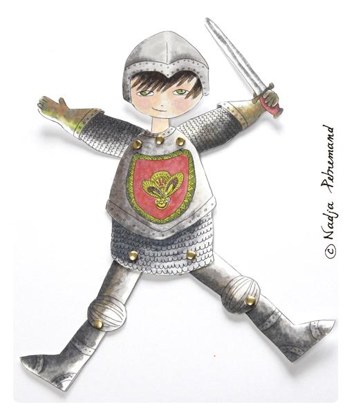 découpage gratuit chevalier pantin 1