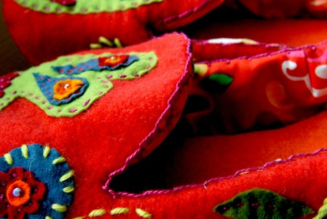 DIY chausson en feutre esprit bohème 2