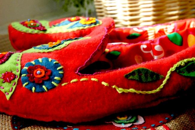 DIY chausson en feutre esprit bohème 3