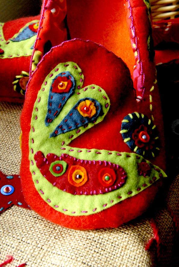 DIY chausson en feutre esprit bohème 4