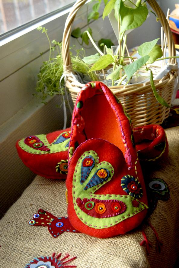 DIY chausson en feutre esprit bohème 5