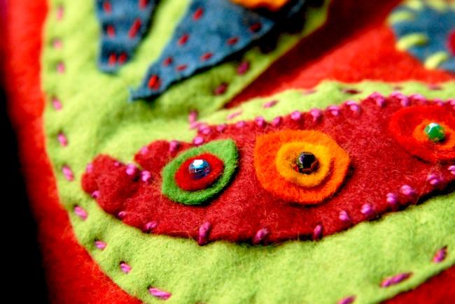 DIY chausson en feutre esprit bohème 8