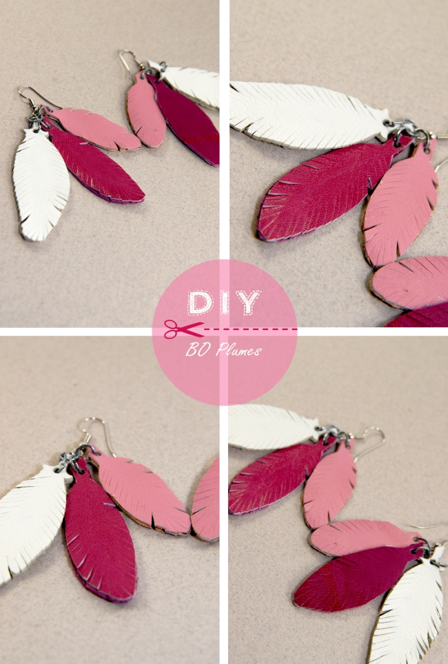 DIY earring feather leather 2