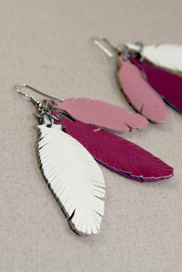 DIY earring feather leather 3