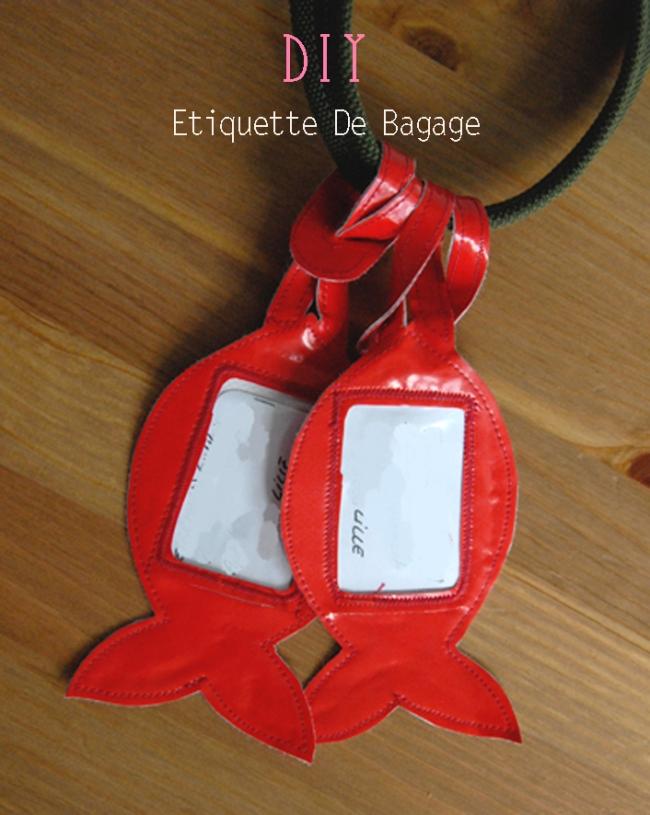 DIY etiquette de bagage forme poisson rouge