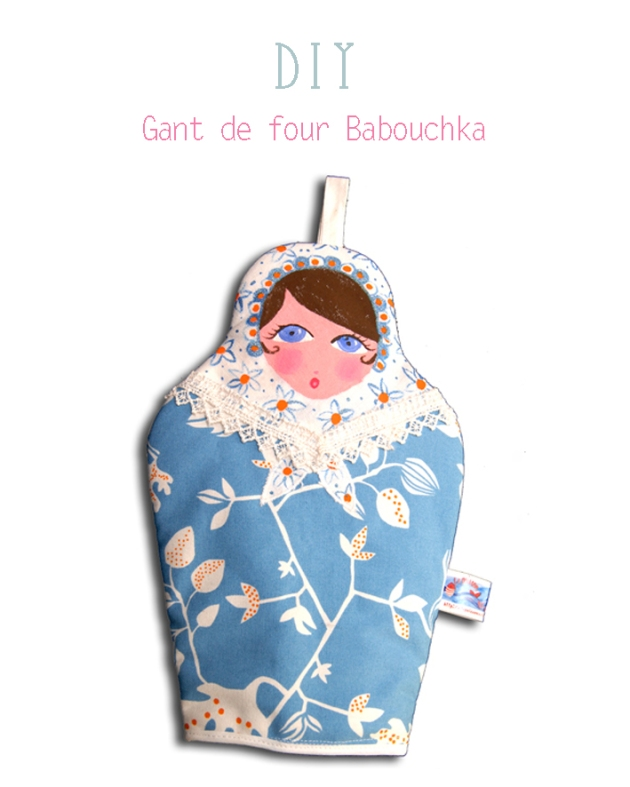 DIY gant de four poupée russe bleue