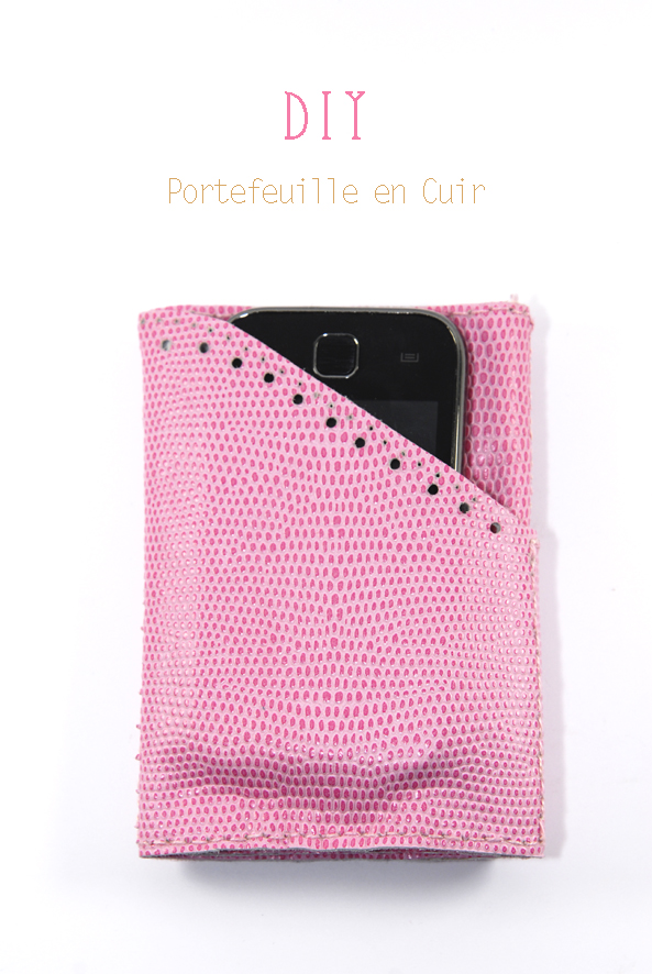 DIY leather valet portefeuille en cuir rose 2