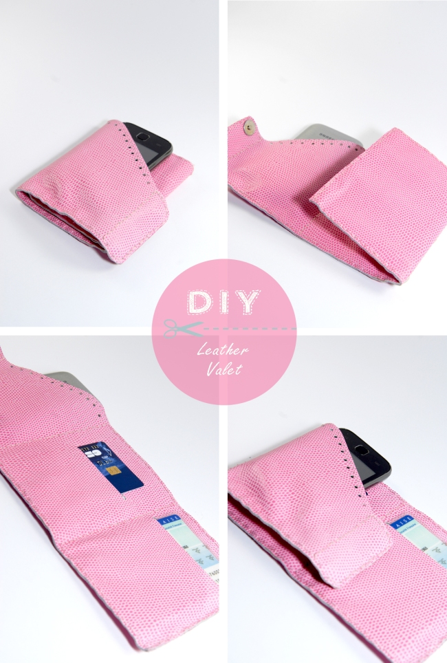 DIY leather valet portefeuille en cuir rose 3