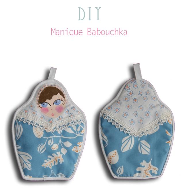 DIY manique poupée russe bleu dos