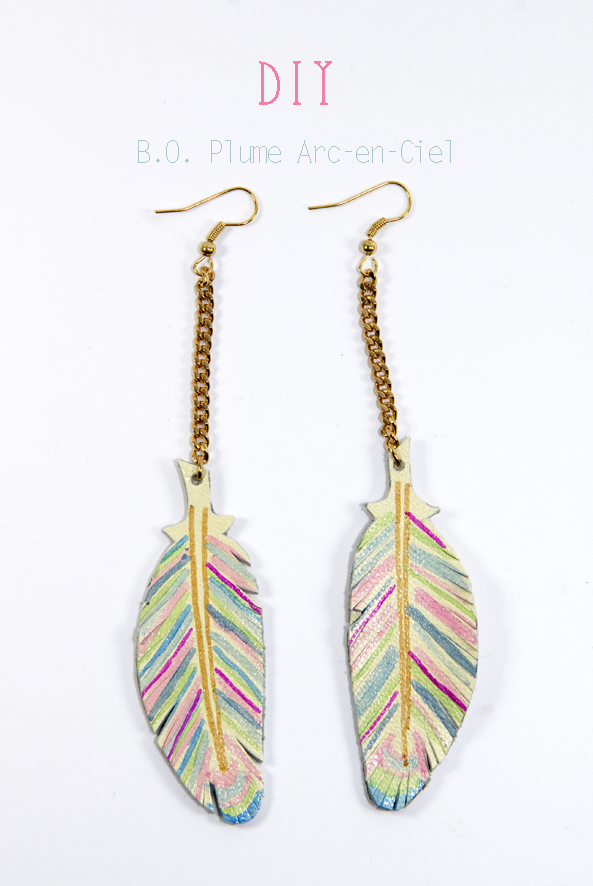 DIY raimbow earring feather leather 2