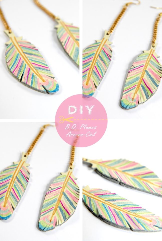 DIY raimbow earring feather leather 4