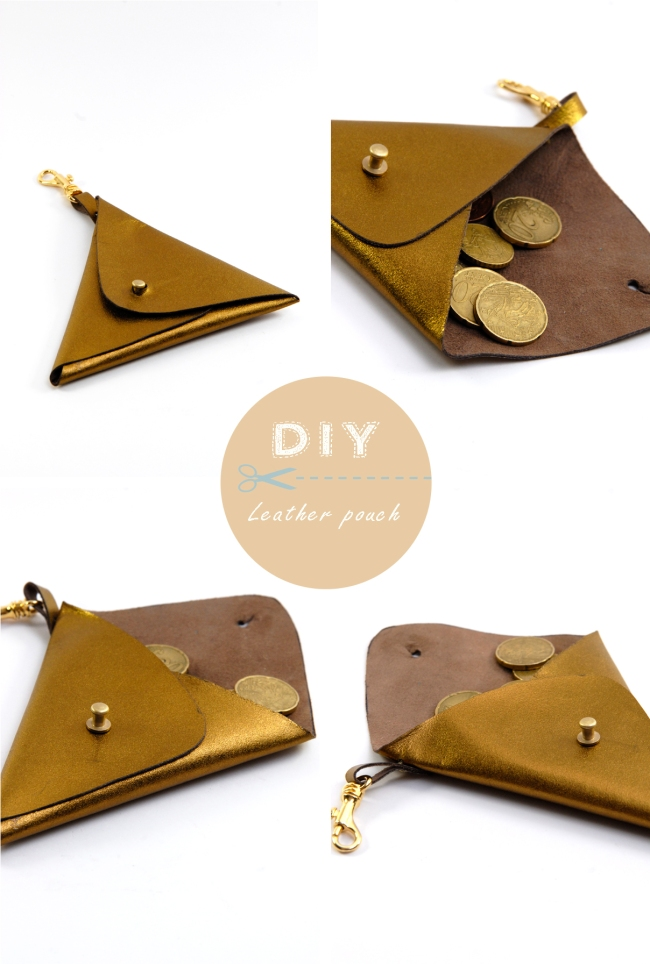 DIY triangle leather pouch 3
