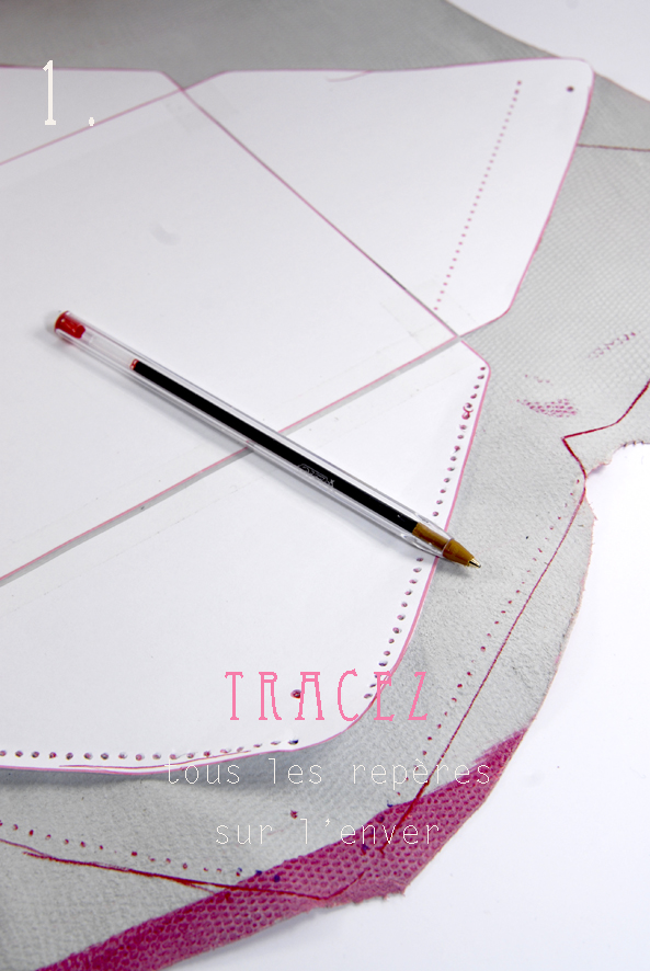DIY tuto sac enveloppe en cuir- leather envelope bag 1