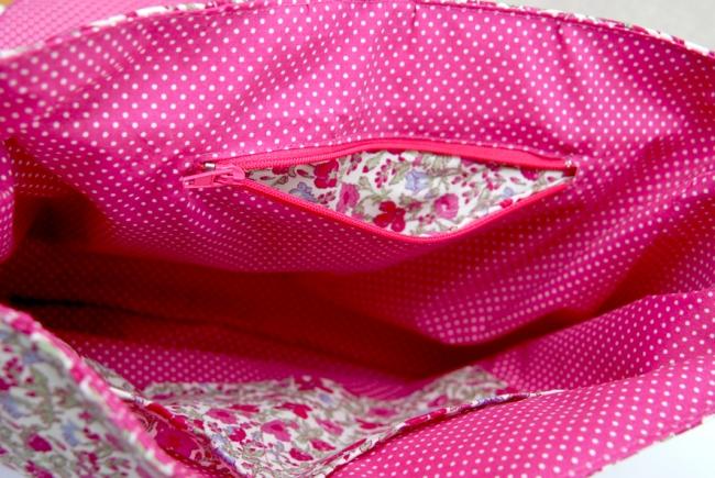 doublure sac rose pois blanc