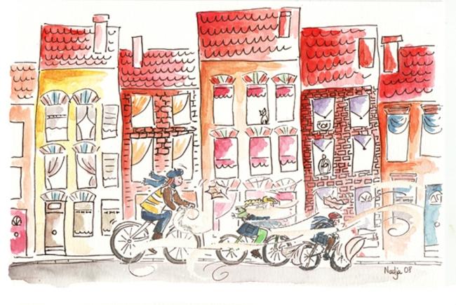 famille à vélo sous le vent