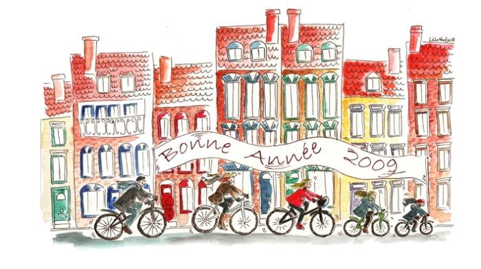 famille à vélo  voeux 2009