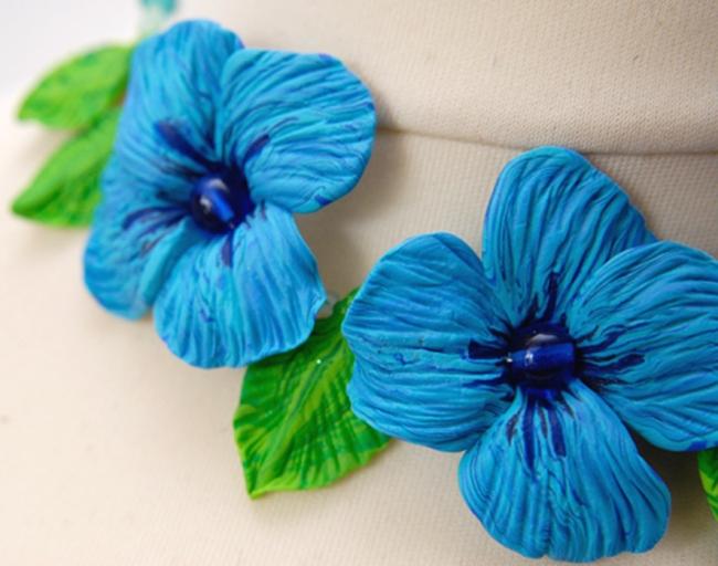 fleur en pollymère turquoise