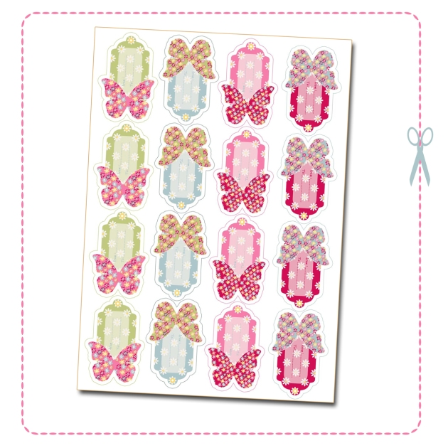 free printable butterfly label tag